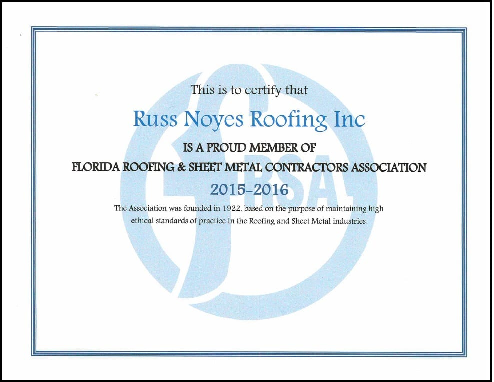 Licenses & Certifications | Russ Noyes Roofing | Longwood, FL